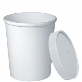 Dart White 32 oz Paper Container Combo - KHB32A-2050 - 250/cs