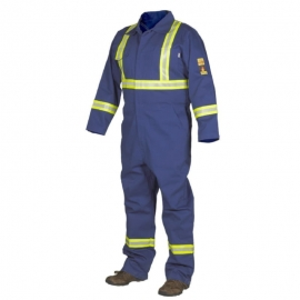 Forcefield Blue Fire Resistant Coverall with Reflective Tape Size 46 100% Cotton - LTP024FRCBU45