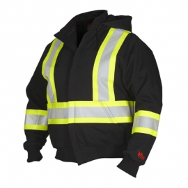 Forcefield Black Fire Resistant Hoodie with Detachable Hood L Reflective Stripes - LTP024P844FRBKL