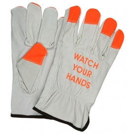 High Visibility Grain Leather Driver Glove Medium Orange Fingertips, Watch Your Hand Logo - MCR3215HVIM - 10dz/cs