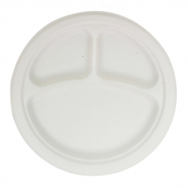 "RiteEarth 9"" Bagasse 3 Compartment Round Plate - P093 - 500/cs"