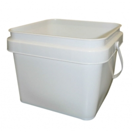 8LT White Plastic Pail with Handle - PS800