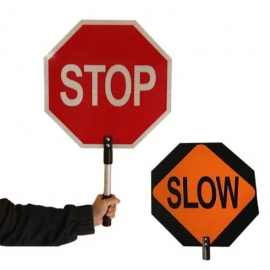 """Honeywell Traffic Stop-Slow Safety Sign 12"""" x 12"""" With 10"""" Handle - PTA002P"""