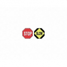 """Honeywell Traffic Stop-Slow Safety Sign 18"""" x 18"""" With 54in Aluminum Handle - PTA012ALRF"""