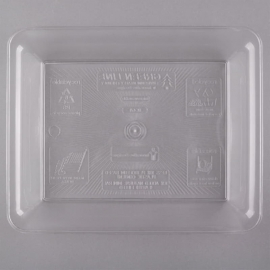 "Fineline Settings Clear Plastic Rectangular Tray 10""x8"" Plastic Party Platters/Trays - R471L - 25/cs"