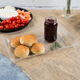 "Fineline Settings Clear Plastic Rectangular Tray 14""x10"" Plastic Party Platters/Trays - R472L - 25/cs"