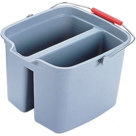 Rubbermaid Brute Plastic Container 17gal Waste Containers Plastic Bucket Double Compartment - RCP261700GRAY - Each