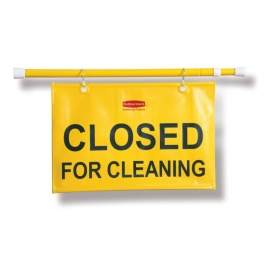 "Rubbermaid ""Closed for Cleaning"" Safety Sign Hanging Doorway - RCP9S1500YEL - Each"