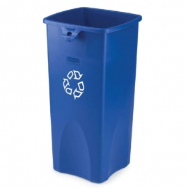 Rubbermaid Square Untouchable Recycling Bin 23gal Waste Containers - RCPFG356973BLUE - Each