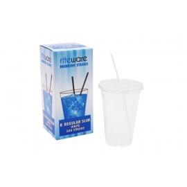 RiteWare 8in White Regular Straws - SP0800 - 500/bx