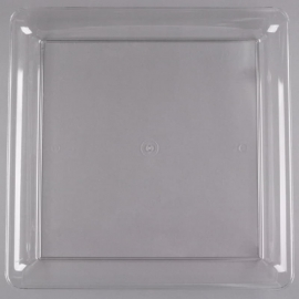 "Fineline Settings Clear Plastic Square Tray 16""x16"" Plastic Party Platters/Trays - SQ4616L - 20/cs"