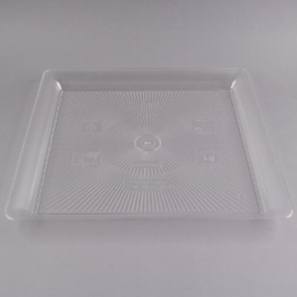 """Fineline Settings Clear Plastic Square Tray 18""""X18"""" Speciality Food Service Supplies - SQ4818-CL - 20/cs"""