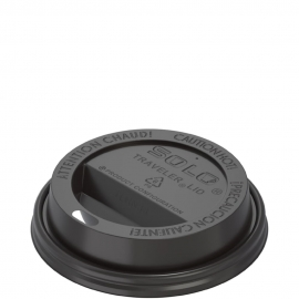 Dart Solo Traveler Cappuccino Black Dome Lids fits 8 oz Paper Hot Cups - TL38B2-0004 - 1000/cs