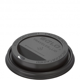 Dart Solo Traveler Cappuccino Black Dome Lids fits 10 oz - 24 oz Paper Hot Cups - TLB316-0004 - 1000/cs