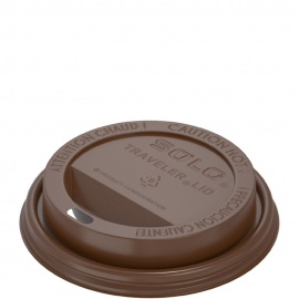 Dart Solo Traveler Cappuccino Brown Dome Lids fits 10 oz - 24 oz Paper Hot Cups - TLN316-00013 - 1000/cs