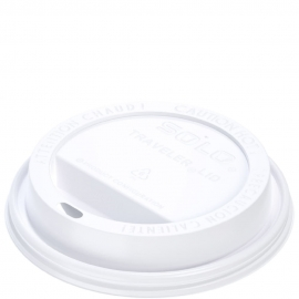 Dart Solo Traveler Cappuccino White Dome Lids fits 20 oz Paper Hot Cups - TLP20-0007 - 1000/cs