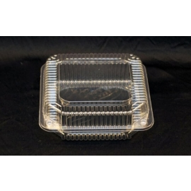 """Vespa Clear Hinged Container 8"""" x 8"""" x 3"""" Plastic Hinged Container - VEL050 - 250/cs"""