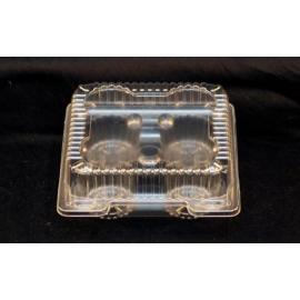 "Vespa Plastic 4 Muffin/Cupcake Container 7"" x 7"" x 3"" Plastic Hinged Container - VEL051 - 500/cs"