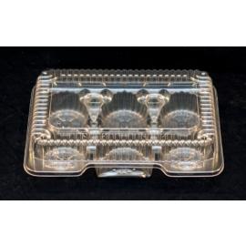 "Vespa Plastic 6 Muffin/Cupcake Container 9.33"" x 6.83"" x 2.38"" Plastic Hinged Container - VEL053 - 500/cs"