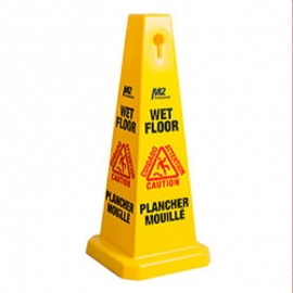 "4 Sided Safety ""Wet Floor"" Caution Sign Large Cone Shape - WF-C9021"