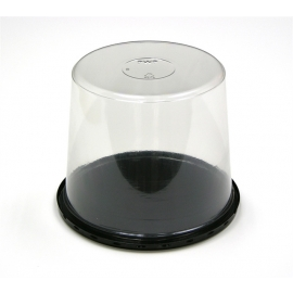 "Pactiv 5in Smooth Dome Lid / 9in Cake Base Combo Plastic Party Platters/Trays 11.25"" x 11.25"" x 5"" - Y11B50PD - 50/cs"