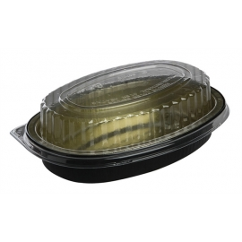 Pactiv 16 oz Carryout Tray with Black Foil Base with Clear Dome Lid - Y6707WPSFG - 100/cs