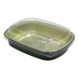 Pactiv 46 oz Carryout Tray with Black Foil Base with Clear Dome Lid - Y6710WPSFG - 50/cs