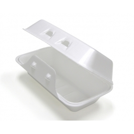 """Pactiv White Medium Takeout Foam Hinged Container 8.75"""" x 4.5"""" x 3.125 - YHLW01840000 - 440/cs"""