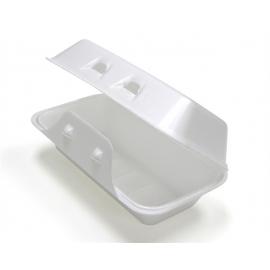 "Pactiv White Rectangular Foam Hinged Container 8.75"" x 5.5"" x 3 - YHLW01880000 - 220/cs"