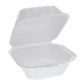 Pactiv 6in White Square Sandwich Foam Hinged Container 5.75x5.75x3.25 - YHLW06000000 - 504/cs