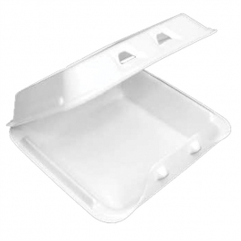 """Pactiv Small 1C Smarlok White Foam Hinged Container 7.5"""" x 8"""" x 2.63"""" - YHLW07010000 - 150/cs"""