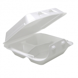 """Pactiv Small 3C Smartlok White, 3 Compartment Foam Hinged Container 7.5"""" x 8"""" x 2.63"""" - YHLW07030000 - 150/cs"""