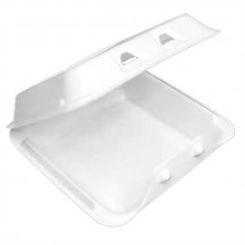 "Pactiv Medium 1C Smarlok White Foam Hinged Container 8"" x 8.5"" x 3 - YHLW08010000 - 150/cs"