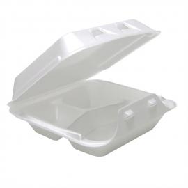 "Pactiv Medium 3C Smartlok White, 3 Compartment Foam Hinged Container 8"" x 8.5"" x 3"" - YHLW08030000 - 150/cs"
