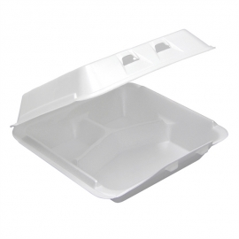 """Pactiv White Large 3 Compartment Foam Hinged Container 9"""" x 9.5"""" x 3.25 - YHLW09030000 - 150/cs"""