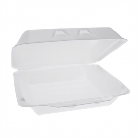 """Pactiv X-Large 1C Smartlok White Foam Hinged Container 8"""" x 8.5"""" x 3 - YHLW10010000 - 250/cs"""