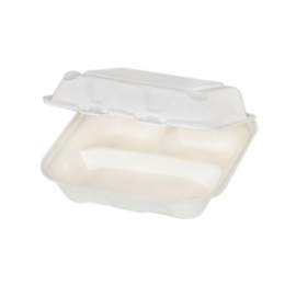 """Pactiv EarthChoice Bagasse 8"""" x 8"""", 3 Compartment Paper Container - YMCH08030001 - 150/cs"""