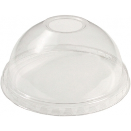 Pactiv Clear Dome Lid with Slot fits 16 oz-20 oz Plastic Cups - YPDL24C - 900/cs