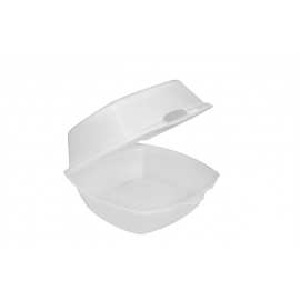 """Pactiv Small Square Foam Hinged Container 5.125"""" x 5.125"""" x 2.5"""" - YTH100790000 - 500/cs"""