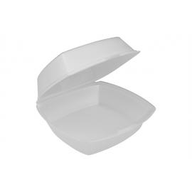 """Pactiv Medium Square Foam Hinged Container 6"""" x 6"""" x 3 - YTH100800000 - 500/cs"""