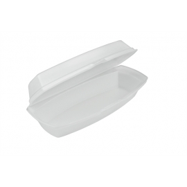 """Pactiv Hot Dog Foam Hinged Container 7.25"""" x 3"""" x 2 - YTH100980000 - 504/cs"""