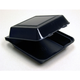"""Pactiv 9in Black Double Laminated Foam Hinged Container 9"""" x 9.5"""" x 3.25 - YTXB09010000 - 300/cs"""