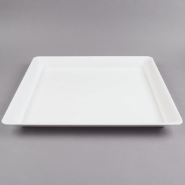 """Fineline Settings White Plastic Square Tray 18""""X18"""" Speciality Food Service Supplies - SQ4818-WH - 20/cs"""